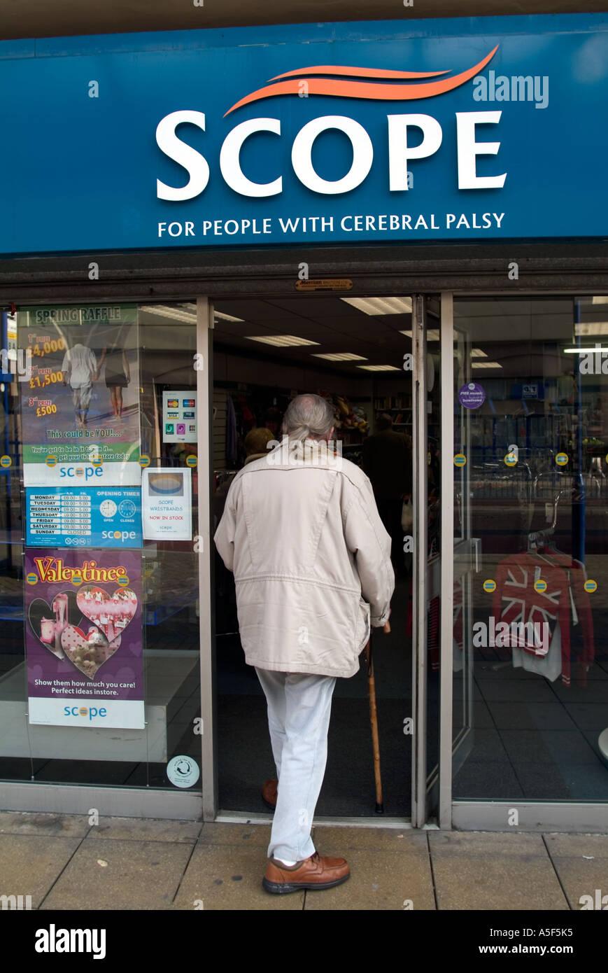 Facade of Scope charity shop Blackburn, Lancashire, UK - Stock Image