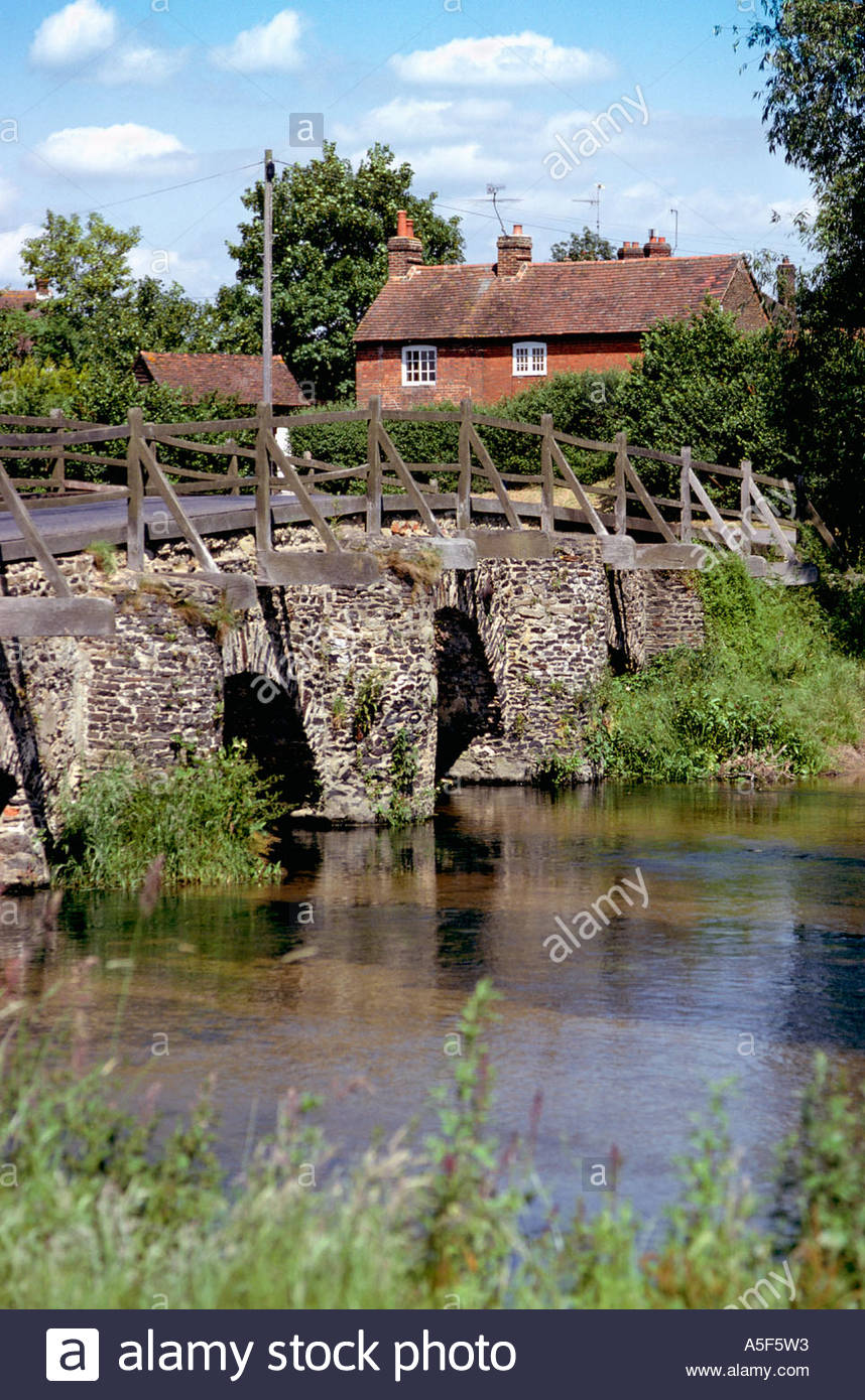 Medieval Bridge over ther River Wey at Tilford Surrey England UK – 1984 - Stock Image