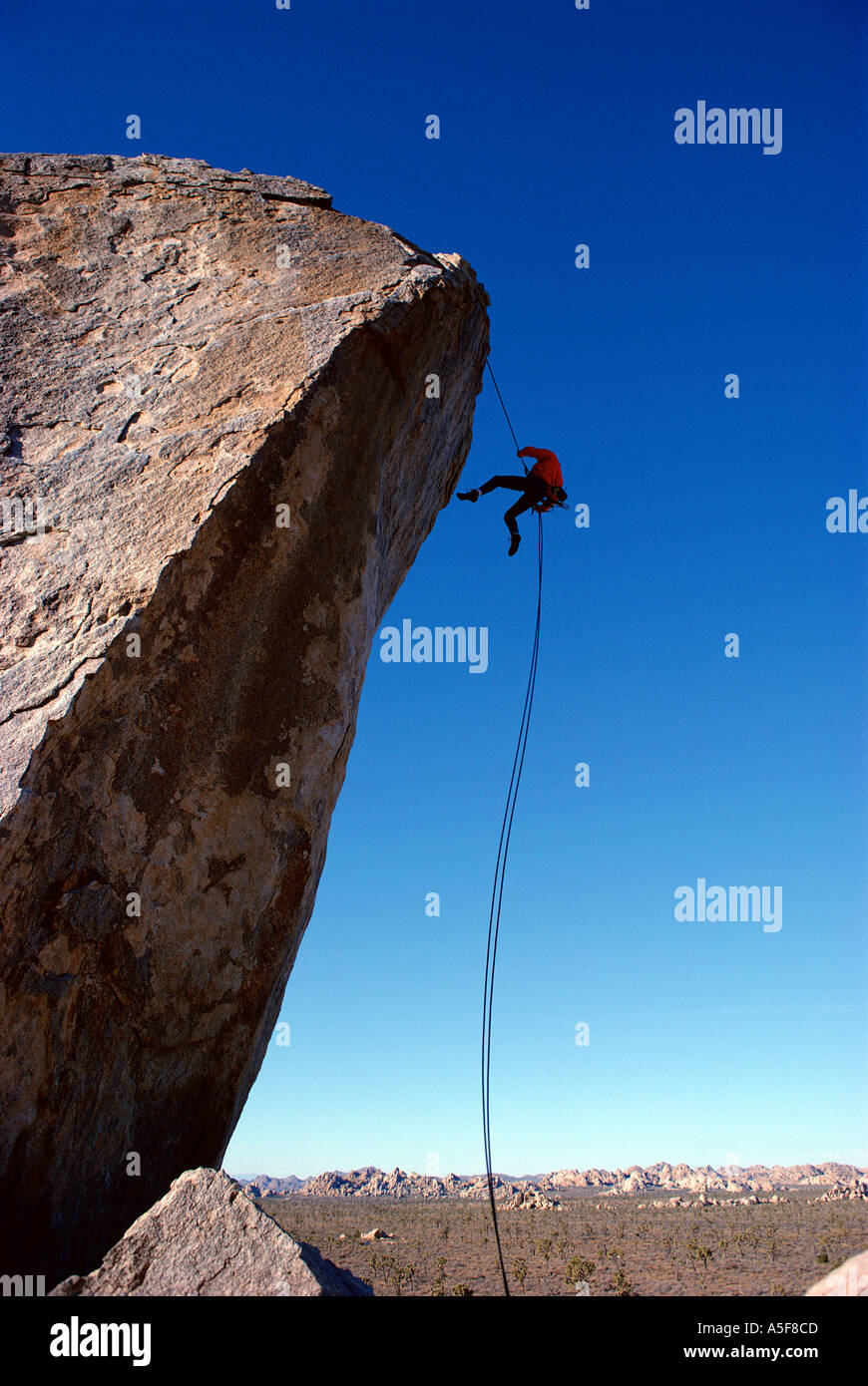 Man rappeling off of large boulder while rock climbing in Joshua Tree California - Stock Image
