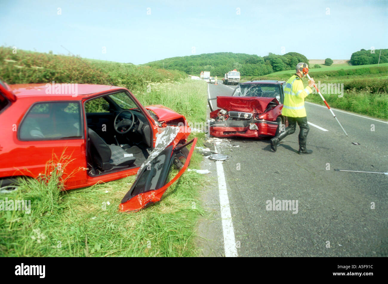 Scene of road traffic accident involving two cars Stock Photo