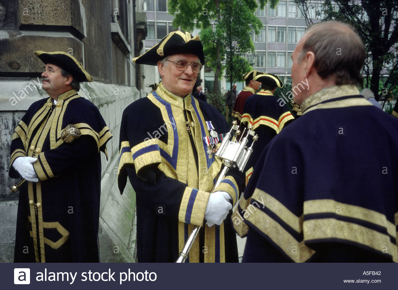 City Guild members in livery at the annual ceremony for the inauguration of the Lord Mayor of London - Stock Image