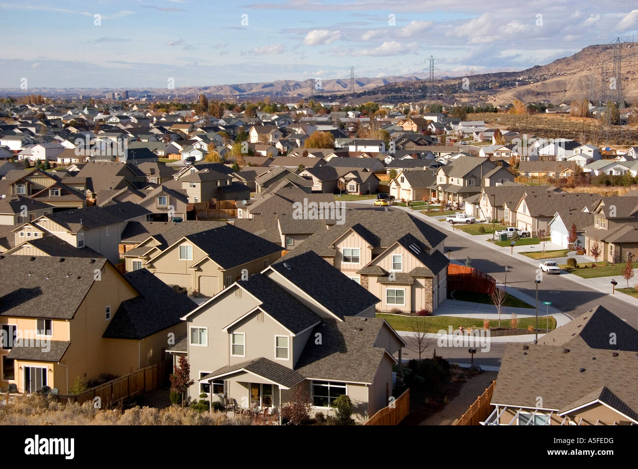 Housing developments contribute to urban sprawl in Boise IdahoStock Photo