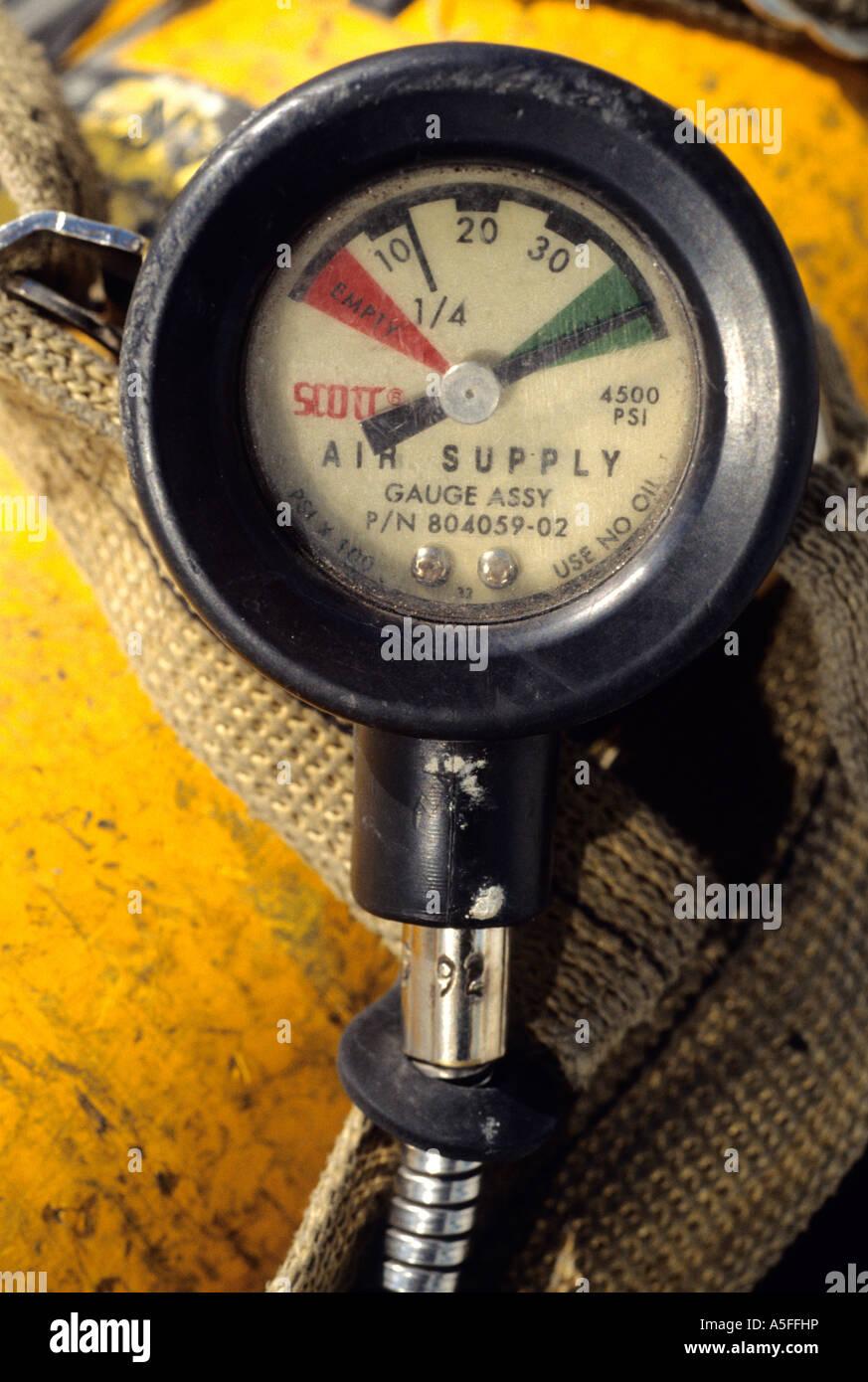 Compressed air tank gauge - Stock Image