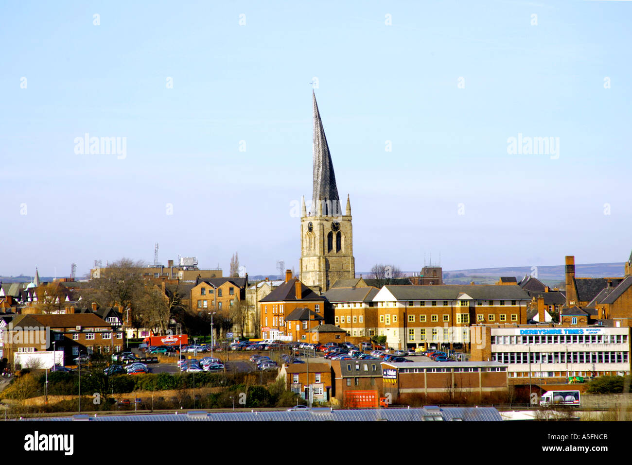 St Mary s Church standing in the centre of market town Chesterfield in Derbyshire Known locally as the Crooked Spire the bent - Stock Image