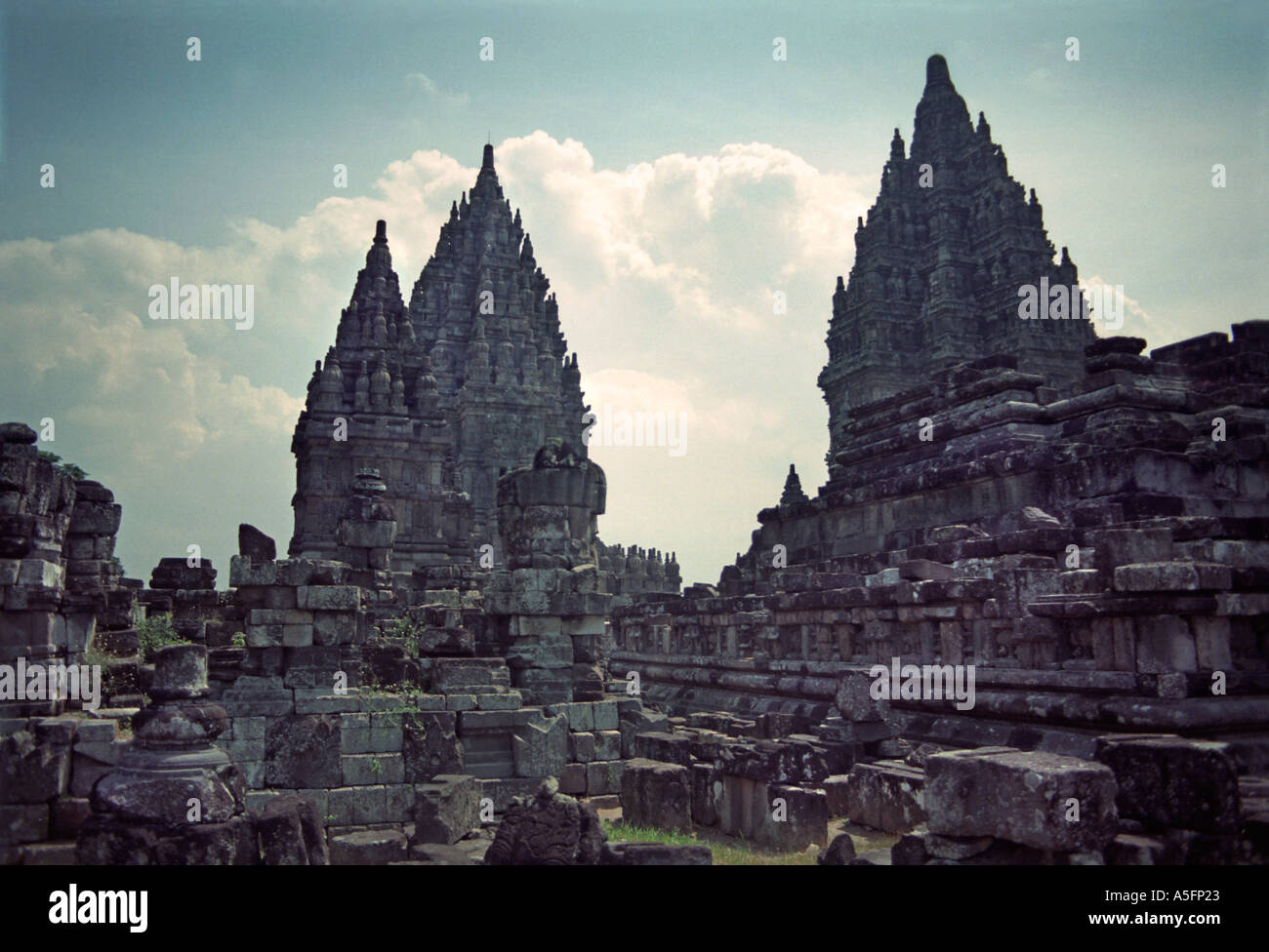 Prambanan in Central Java is the largest Hindu temple compound in Indonesia UNESCO Site Central temple 47m Java Indonesia - Stock Image