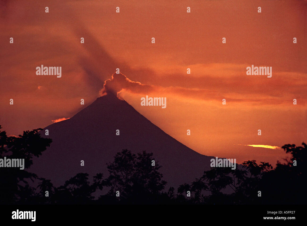 A plume of smoke rises from the cone of Gunung Merapi a volcano overlooking the sacred site of Borobudur Central Java Indonesia - Stock Image