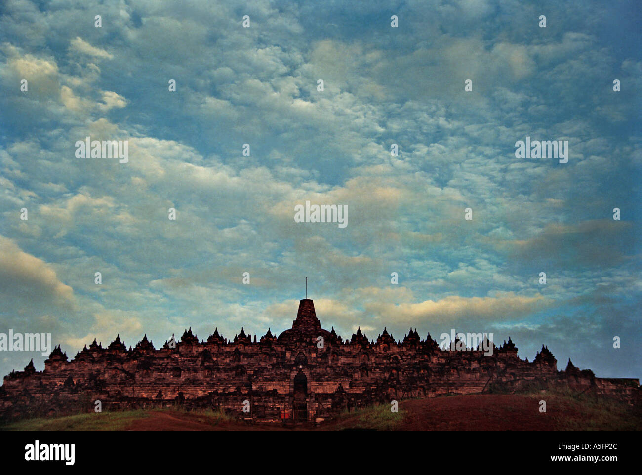 The Hindu Buddhist temple stupa of Borobudur a colossal stupa Central Java Indonesia View of the entire monument Java - Stock Image