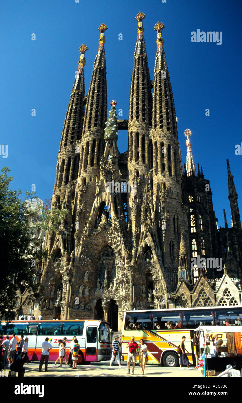 The Unfinished Church Of The Sagrada Famiglia In Barcelona By The