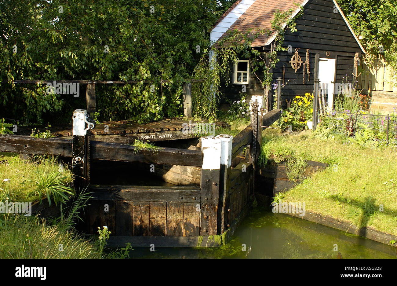 Canal lock and lock keeper cottage - Stock Image