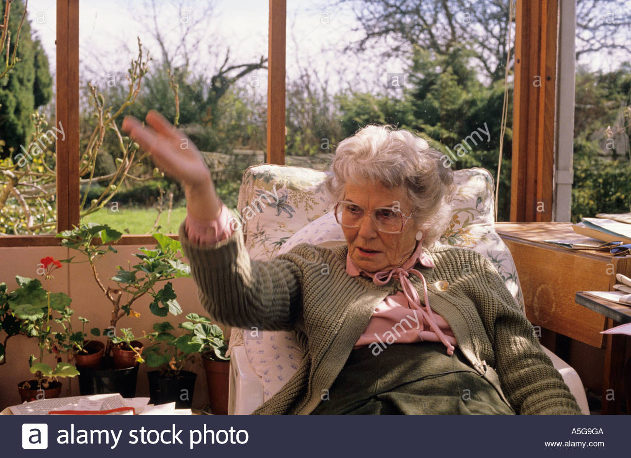 Decency campaigner Mrs Mary Whitehouse at home in Ardleigh, Colchester, England - Stock Image