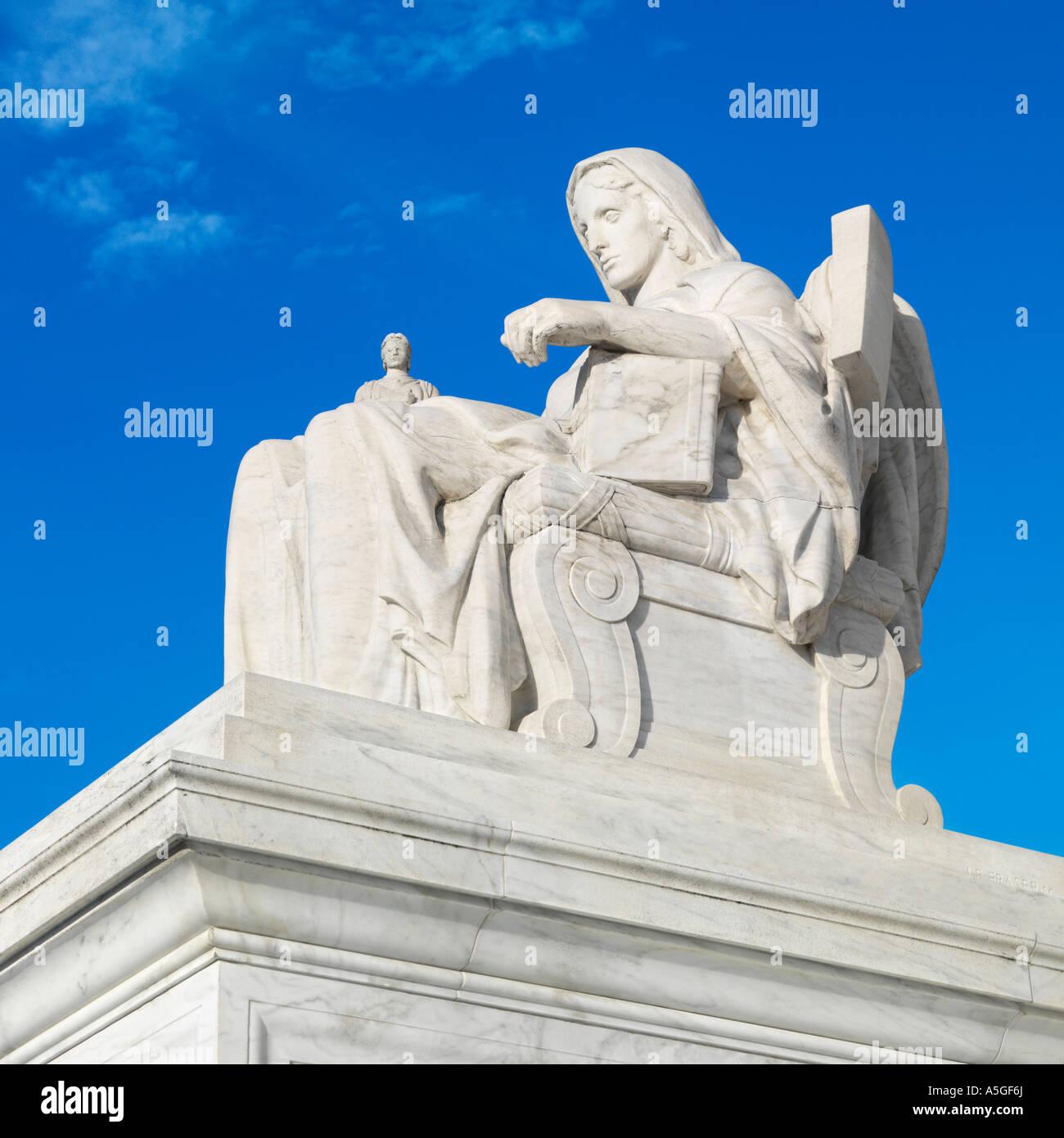 Statue at Supreme Court in Washington DC - Stock Image