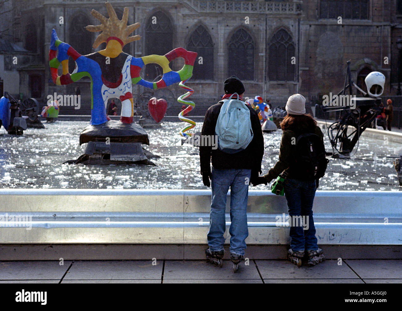 Visitors on roller blades in the Beaubourg area Stock Photo