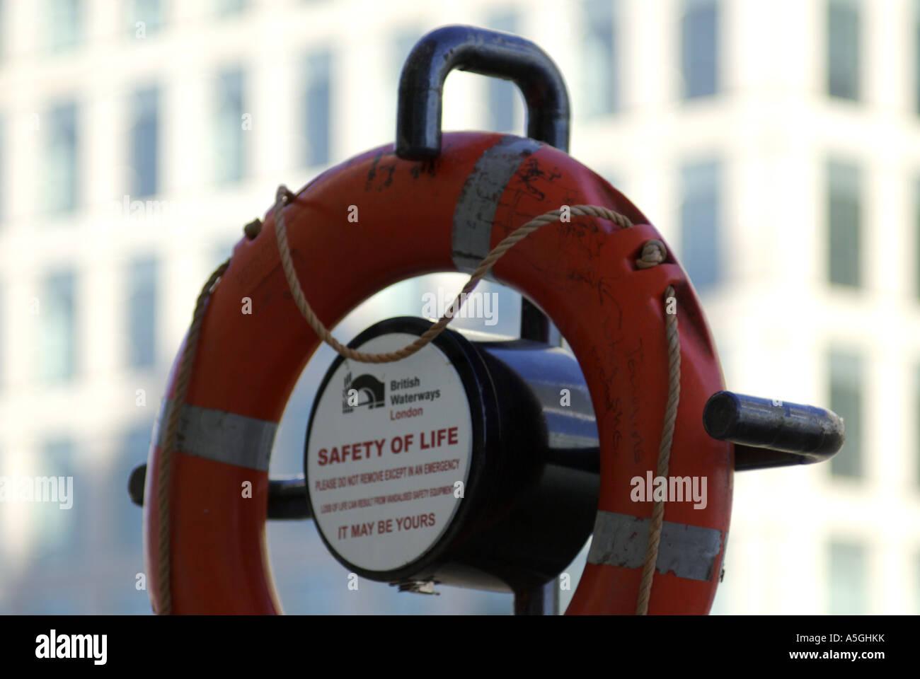 lifebuoy at Canary Wharf London - Stock Image
