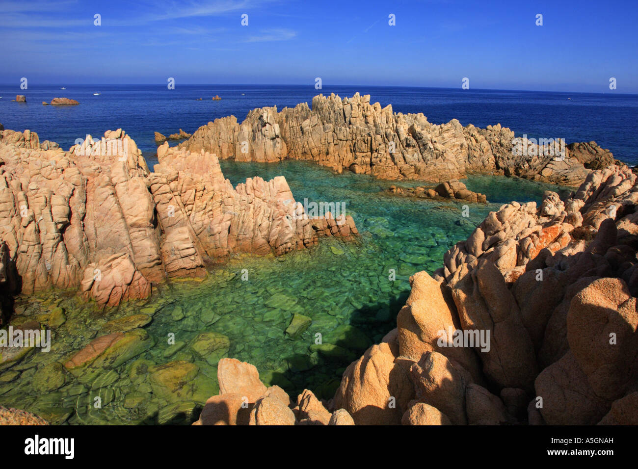 red cliffs , Italy, Sardegna, Costa Paradiso, Costa Paradiso Stock Photo