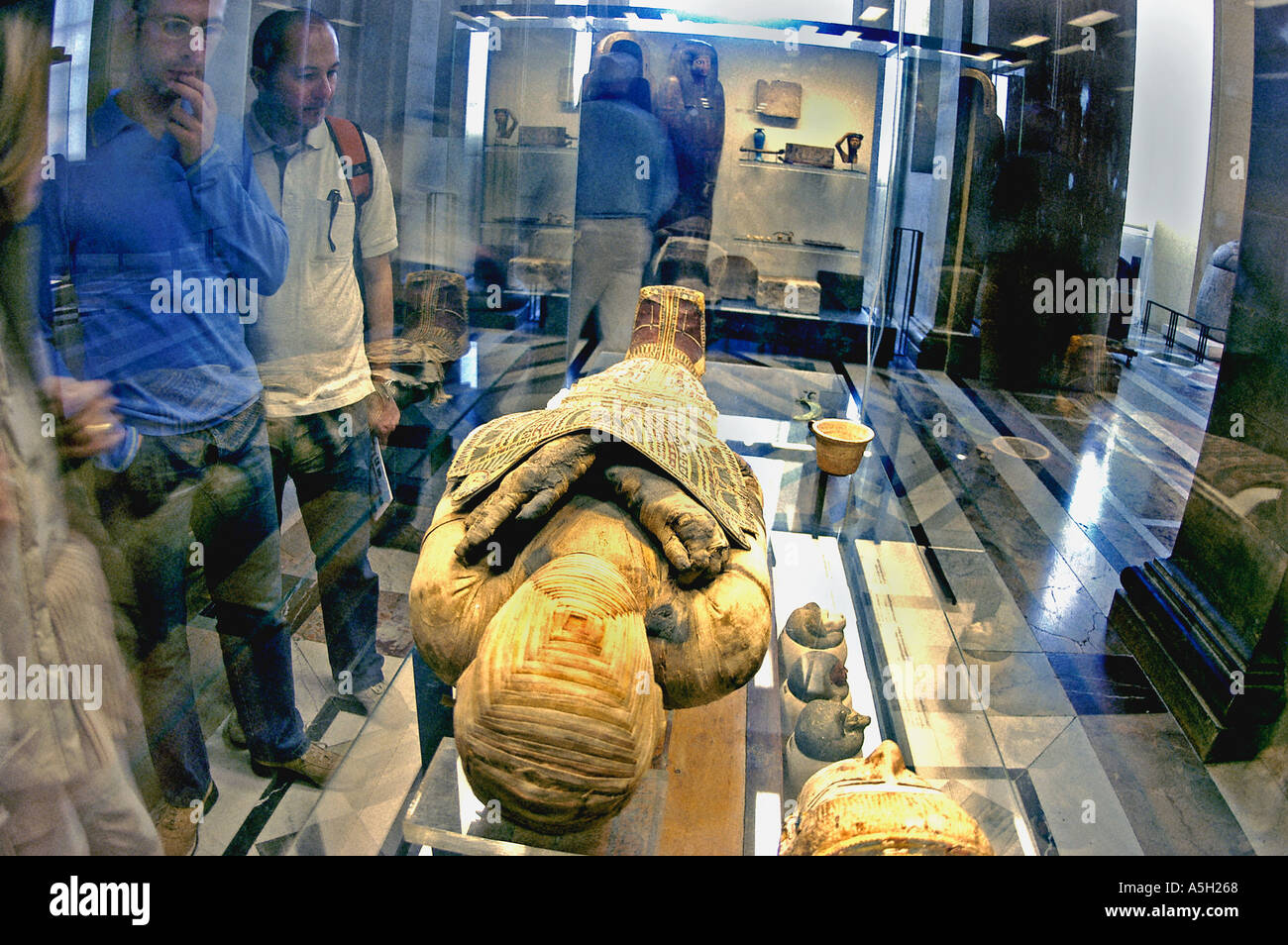 PARIS France Tourists Visiting in 'Louvre Museum' Egyptian Dept Collection 'Ancient Mummy' Travel Culture - Stock Image