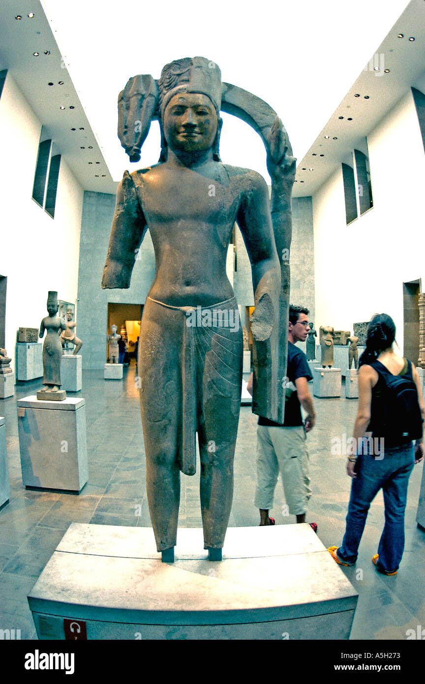 Religion 'Asian Art Museum' Cambodian Buddhist Sculpture Paris France Europe standing Icon 'Musee Guimet' Inside - Stock Image