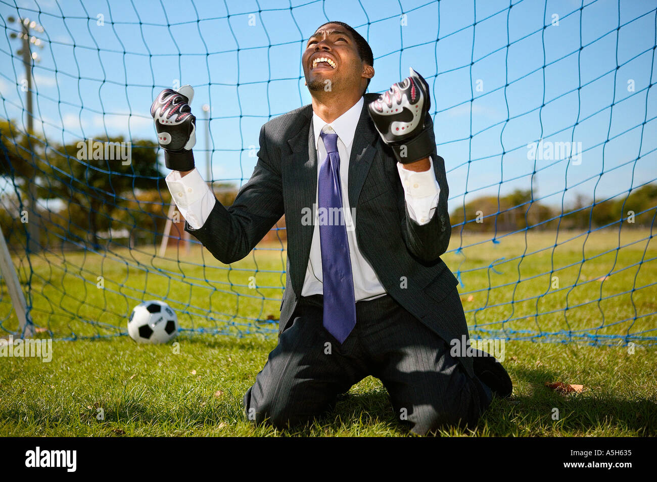 Defeated goalkeeper - Stock Image