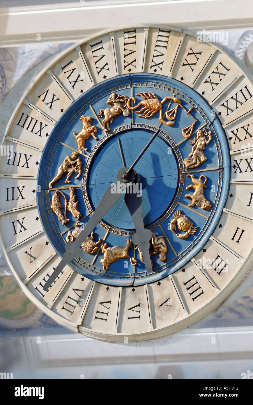 Ornate clock with roman numerals - Stock Image