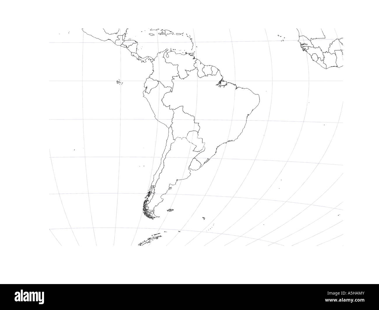South America Globe Map Country Border Outline Chart