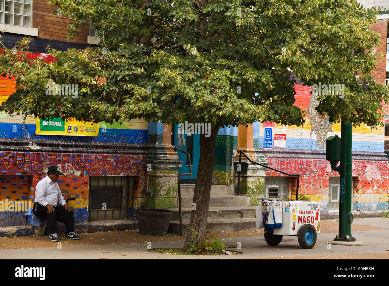 Illinois Chicago Mexican Man Sit In Shade Of Tree Outdoor Mural