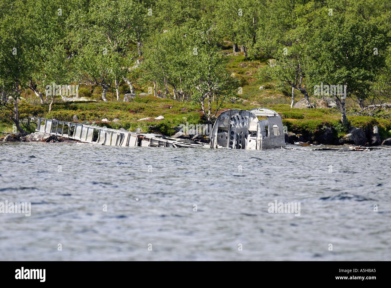 Wrecked German bomb plane from WW2 in lake Grovelsjon Norway - Stock Image