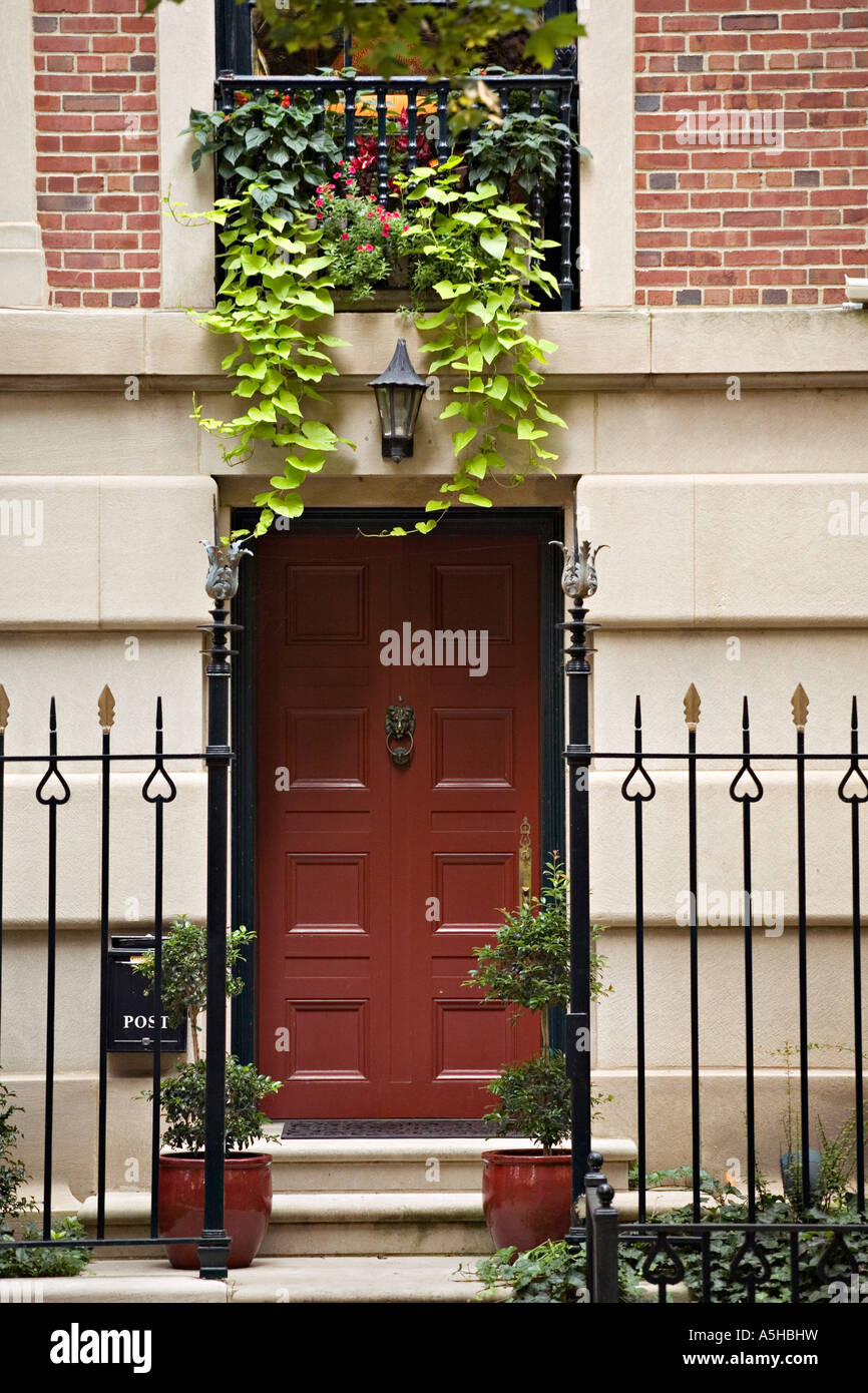 ILLINOIS Chicago Red Door On Residence In Astor Street District Iron Fence  Gold Coast Area Of City