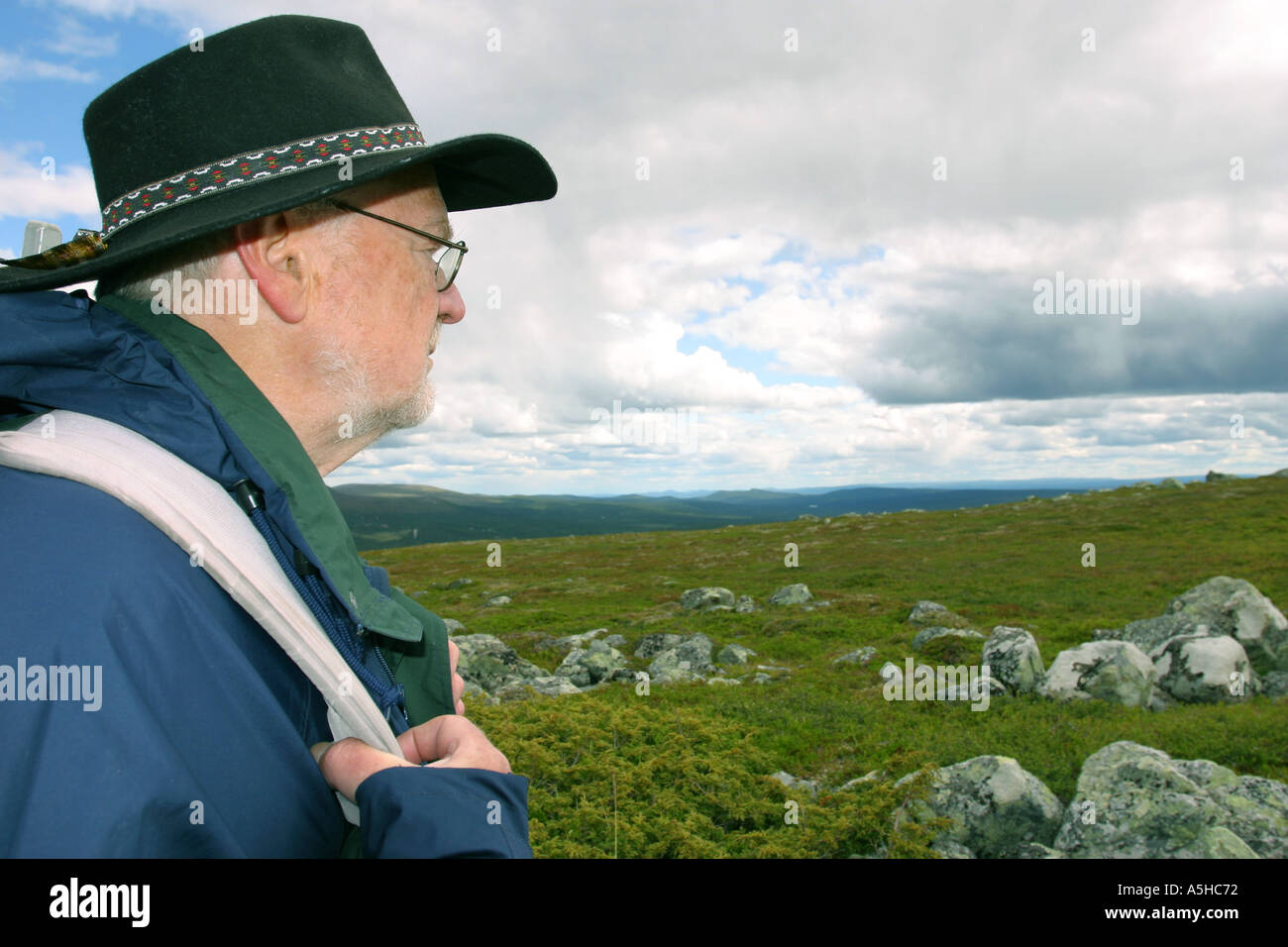 Man looking out over the Swedish mountains - Stock Image