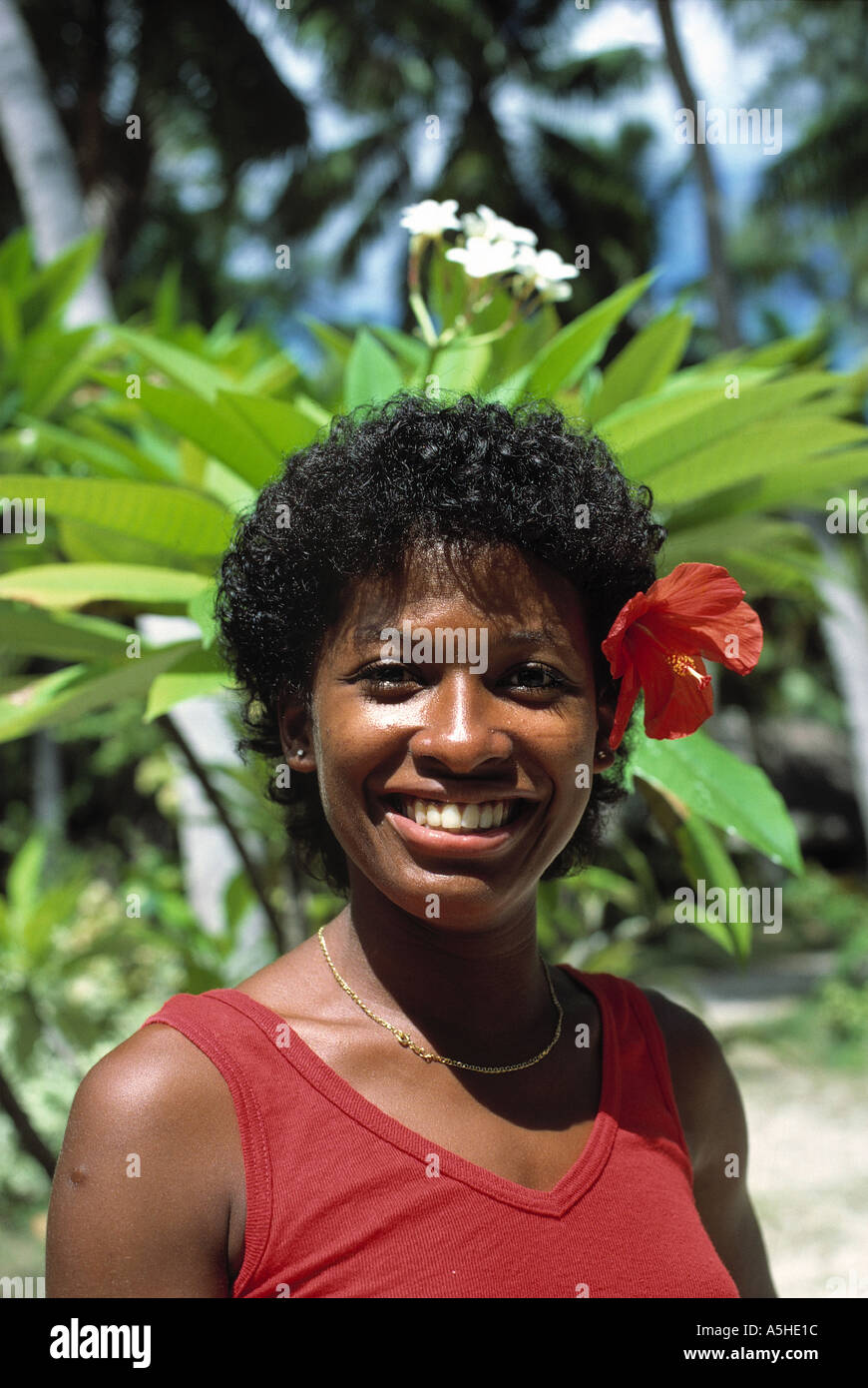 portrait of native woman praslin island seychelles - Stock Image