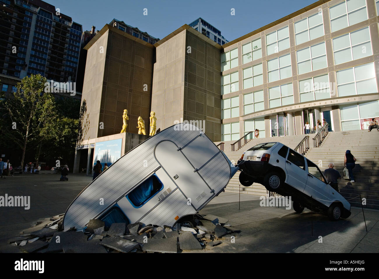 ILLINOIS Chicago Car and RV trailer temporary exhibit outside Stock ...