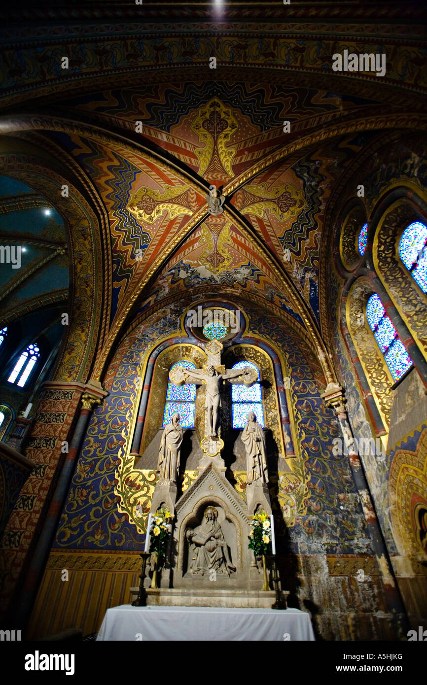 HUNGARY Budapest Interior Of Matyas Church Neo Gothic Architecture Frescoes And Paintings On Walls Columns
