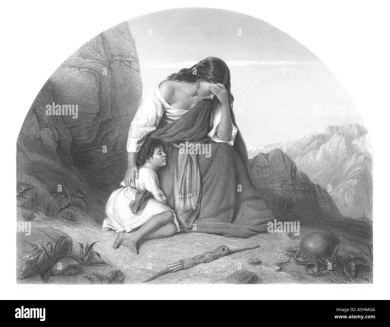 Hagar and Ishmael Genesis Chapter 21 Verse 16 engraving - Stock Image