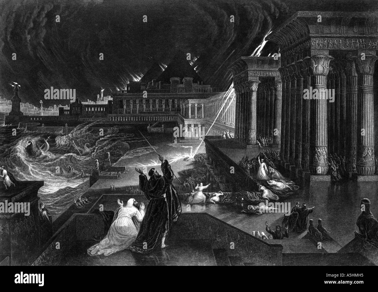 The Seventh Plague, Exodus Chapter 9 Verse 23 Engraving - Stock Image