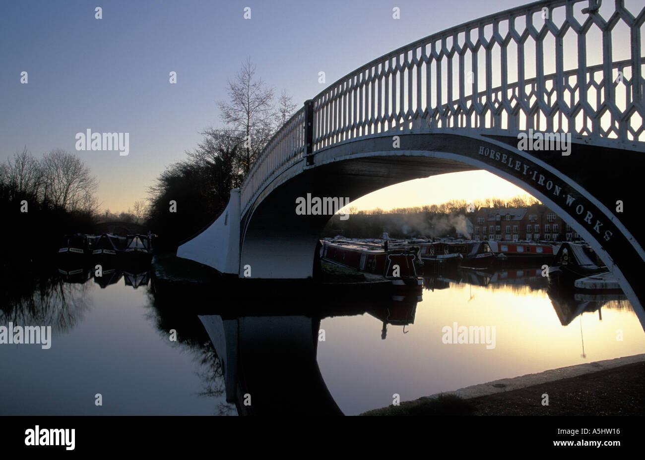 Braunston Marina at Dawn Northants, England - Stock Image