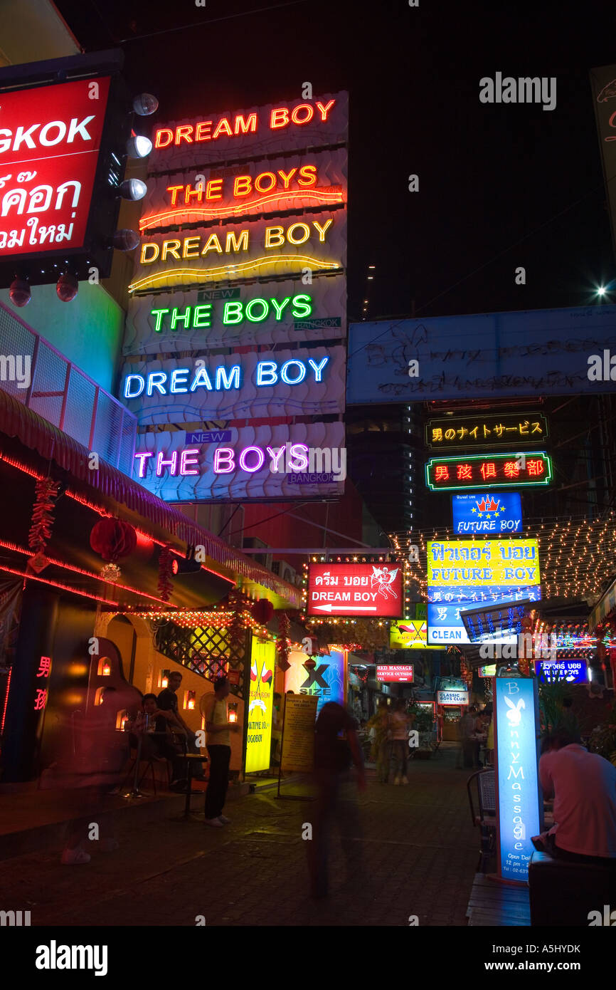 Dream Boy, The boys Seedy Gay Scene Neon late night bar signs over Bangkok  nightlife bars and club venues down town Bangkok Thailand, Asia