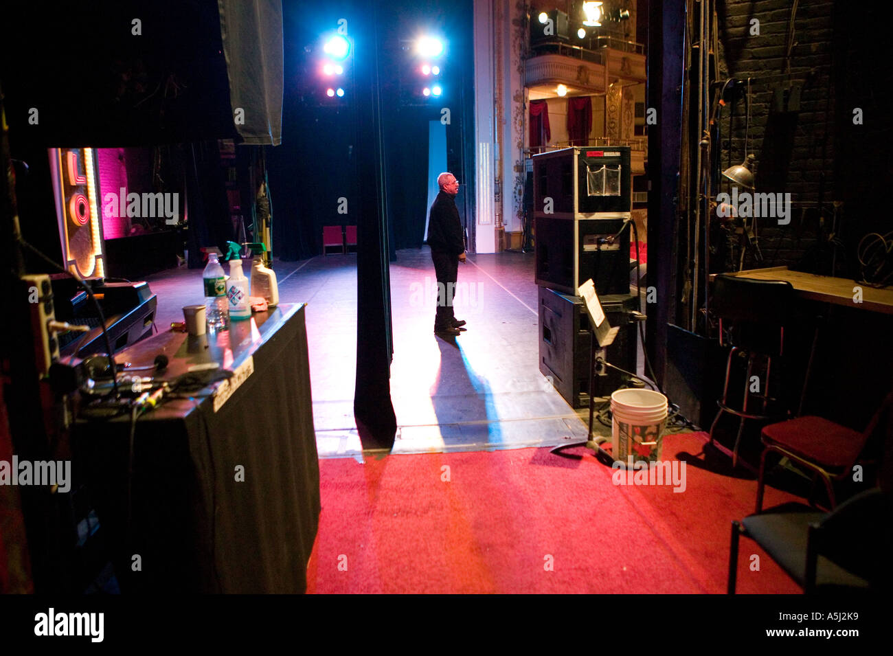 View of stage from prompt corner at Apollo theater home of the famous Amateur Night shows in Harlem New York City USA Feb 2006 - Stock Image