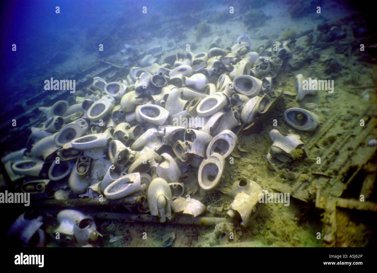 Toilet bowls at the ship wreck site of the Yolanda at Ras