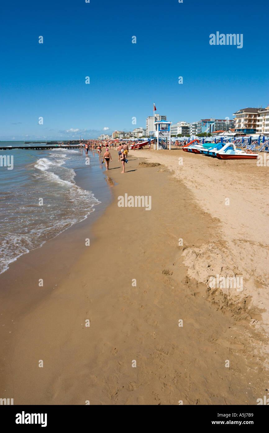 Beach, Lido de Jesolo, Venetian Riviera, Italy - Stock Image