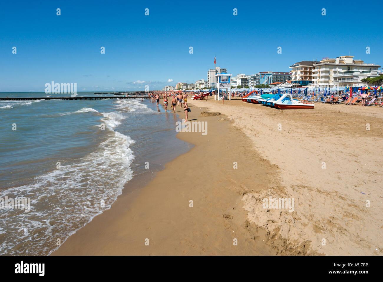 Beach, Lido de Jesolo, Venetian Riviera, Italy Stock Photo