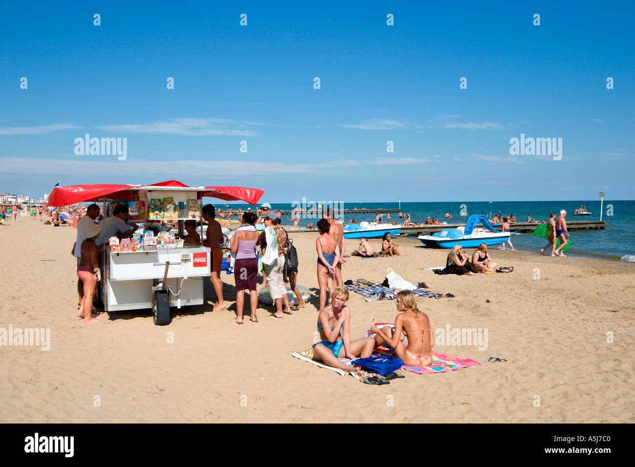 Beach, Lido de Jesolo, Venetian Riviera, Italy Stock Photo