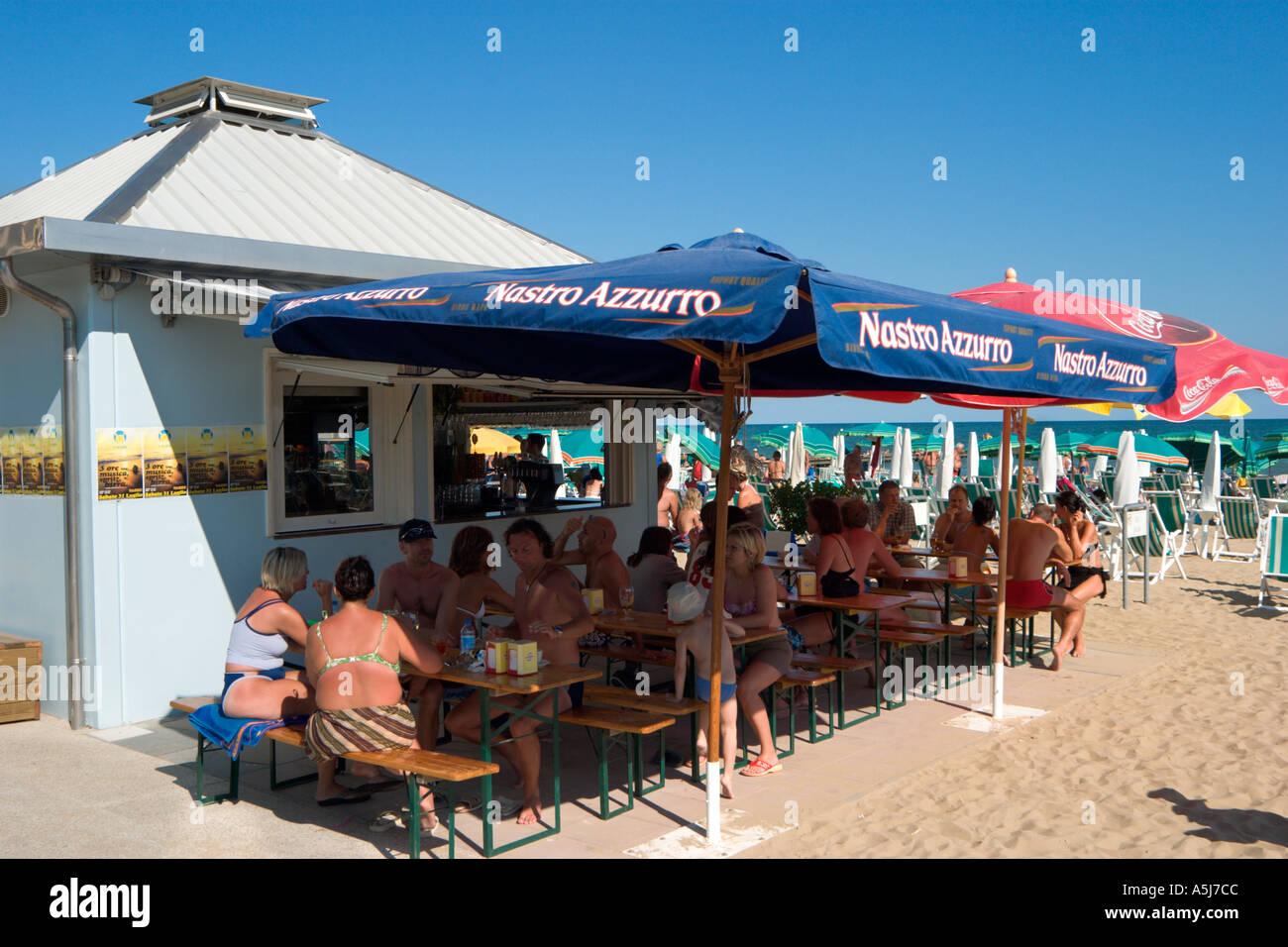 Beach Bar, Lido de Jesolo, Venetian Riviera, Italy Stock Photo