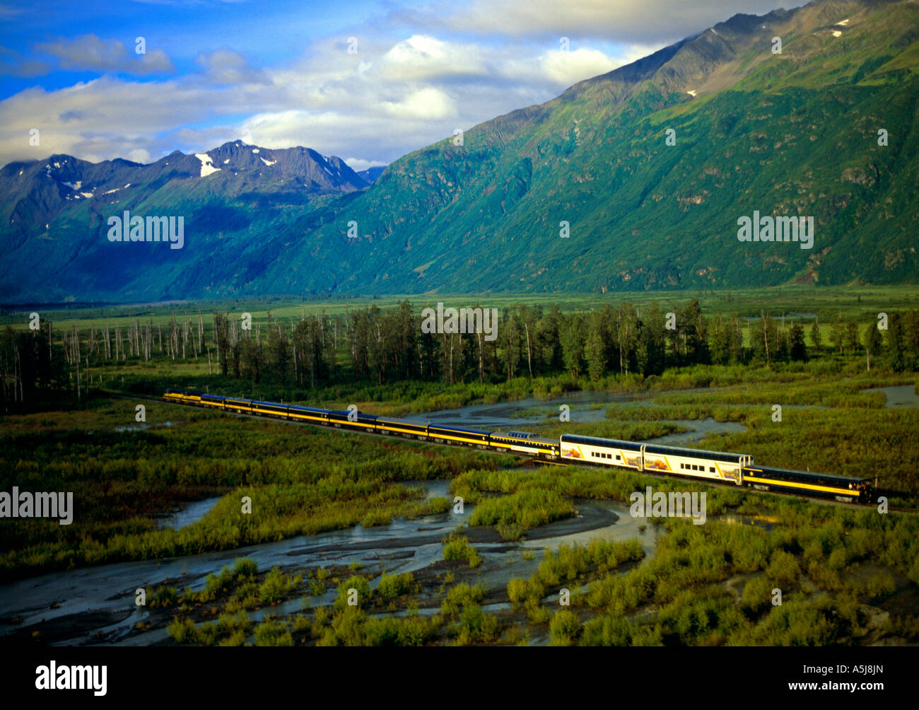 The Alaska Railroad and the Celebrity Tours Wilderness Express - Stock Image