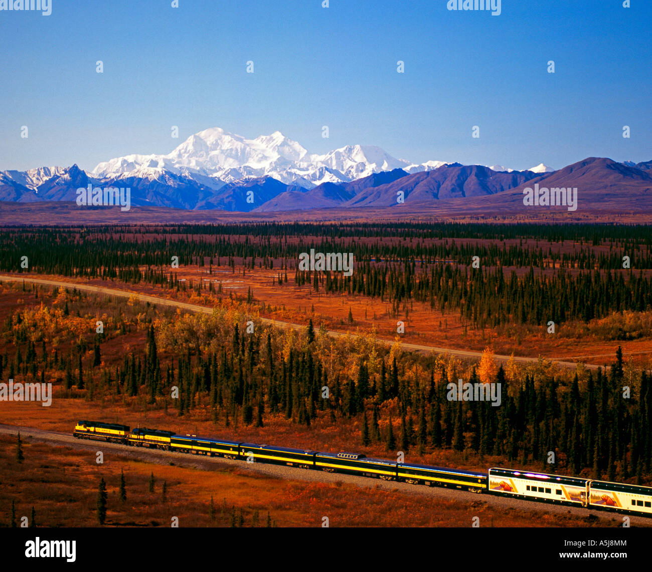 Alaska Railroad southbound train at the summit, with Mt McKinley and the Alaska Range in the background - Stock Image