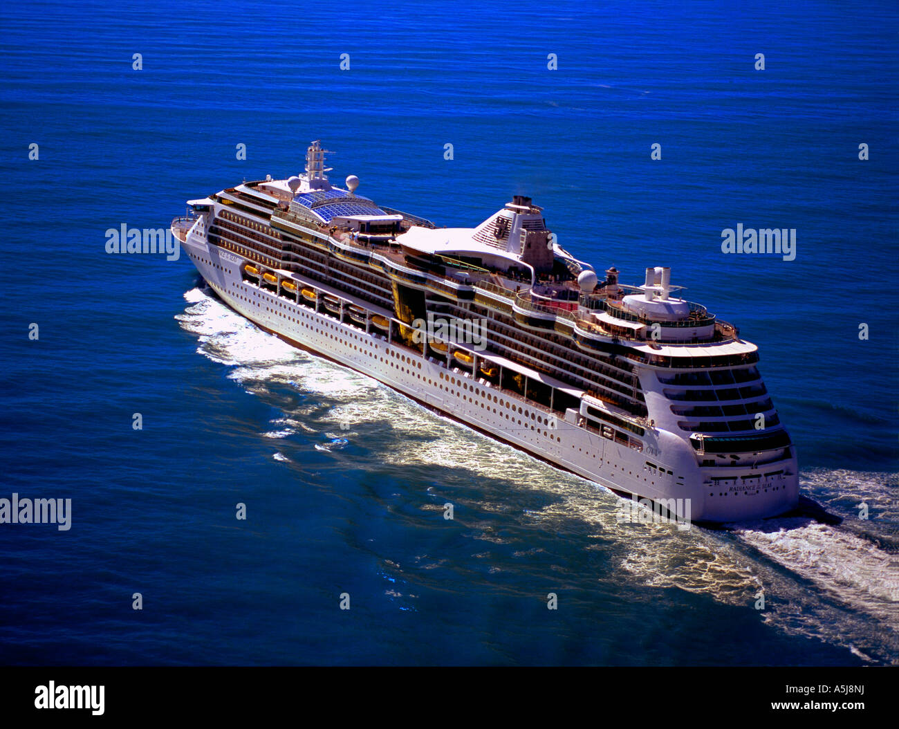 An aerial view of the 'Radiance of the Seas' sailing out of Disenchantment Bay, Wrangell Saint Elias National - Stock Image