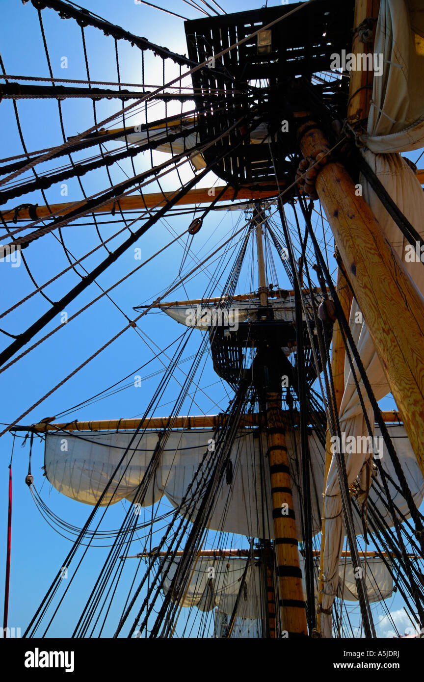 Caravel sails Columbus Sailboat Pirate adventure - Stock Image