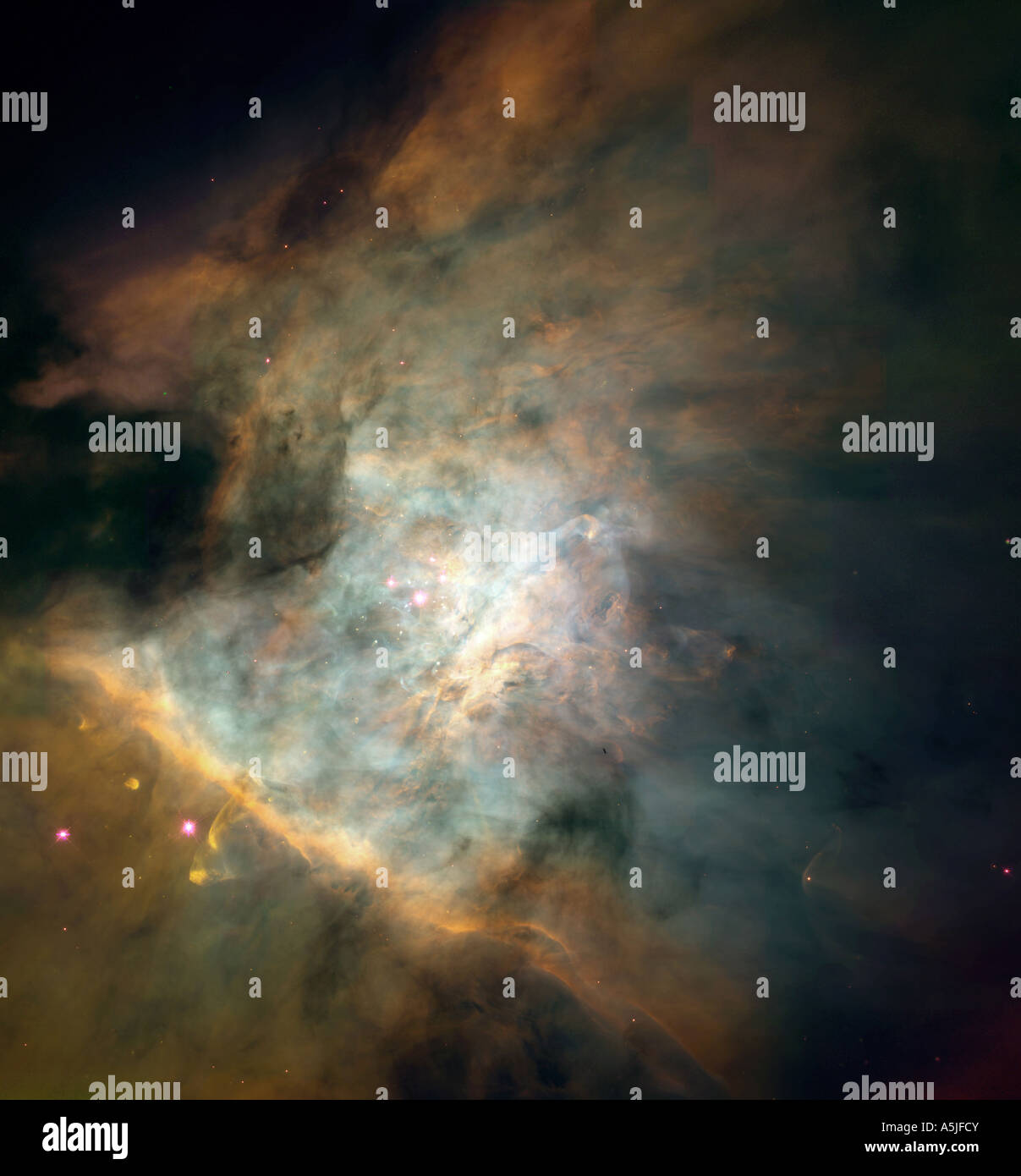 Center of  the Orion nebula assembled from individual images taken with NASA's Hubble Space Telescope. - Stock Image