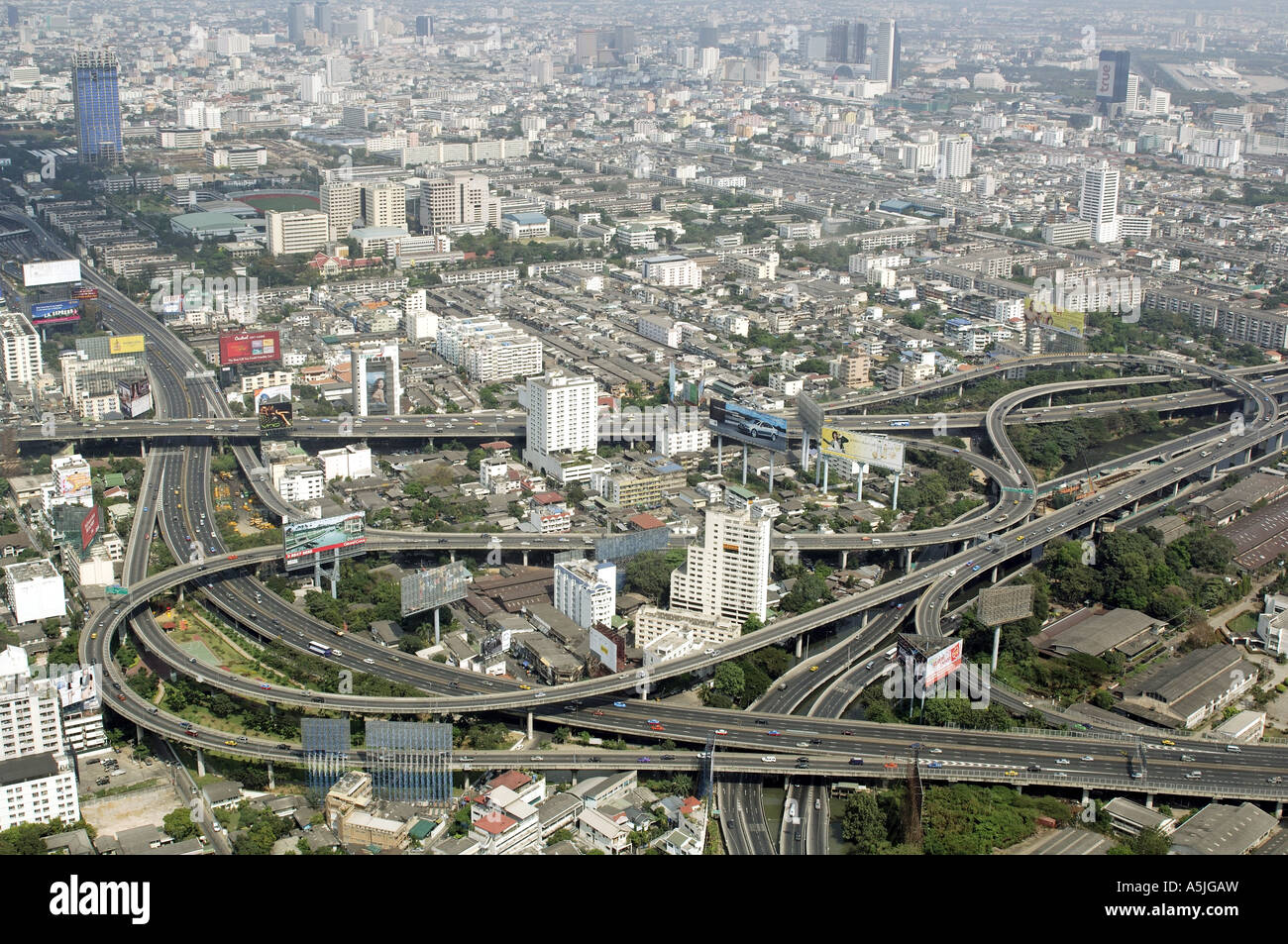 HMA102753 Aerial view of city with roads and flyovers Bangkok Thailand South East Asia - Stock Image