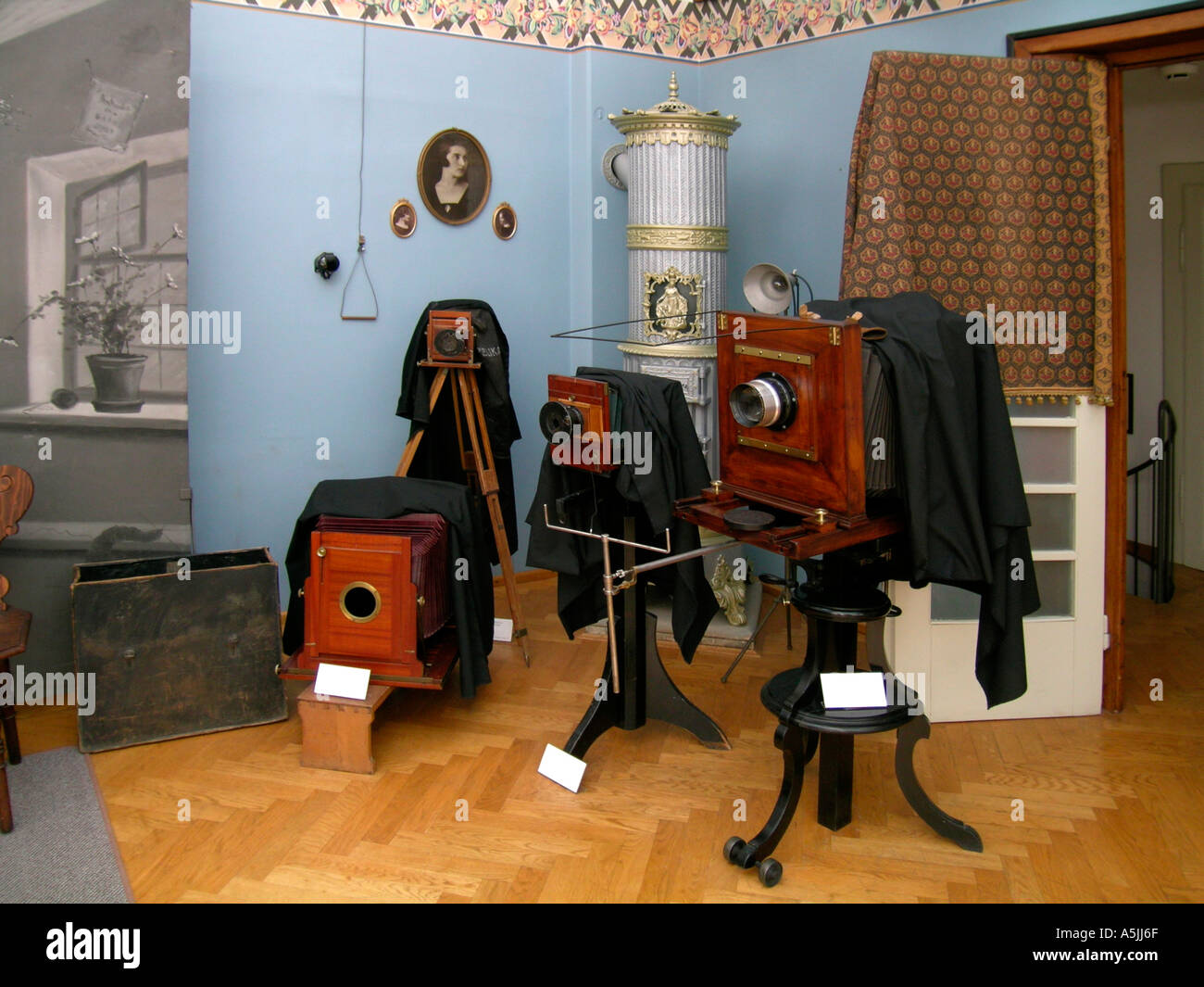 old cameras in the Pelikan museum studio of the photograph Josip Pelikan in Celje Slovenia Stock Photo