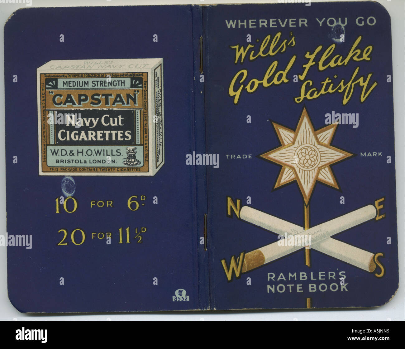 Rambler's Notebook gift from W D & H O Wills,  circa 1930 - Stock Image