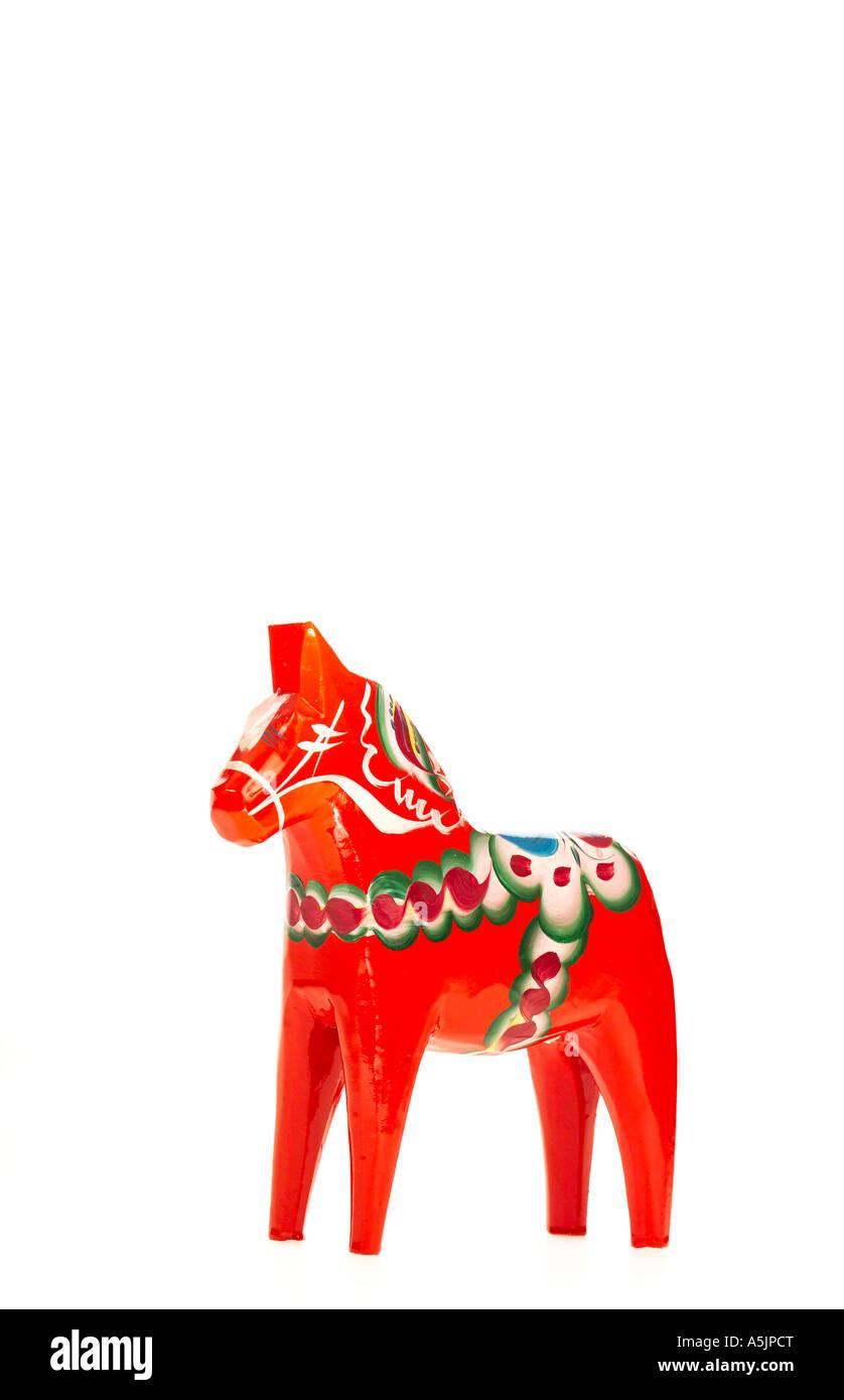 Handmade Dalahorse from Nusnas Sweden - Stock Image