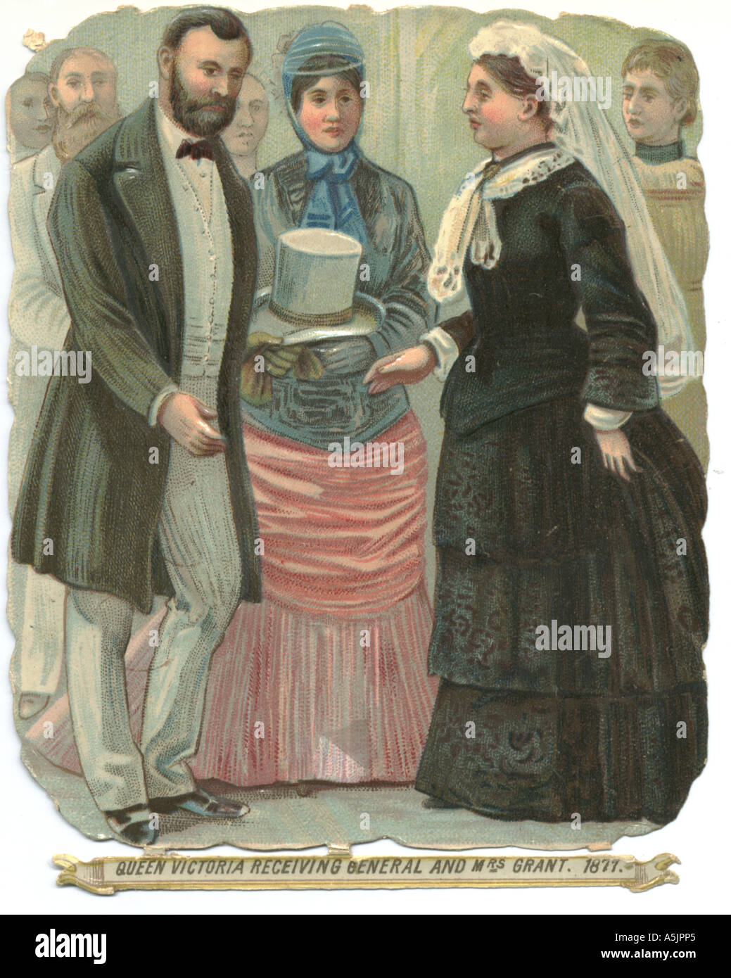 Die cut scrap showing Queen Victoria receiving General and Mrs Grant, 1877. Stock Photo